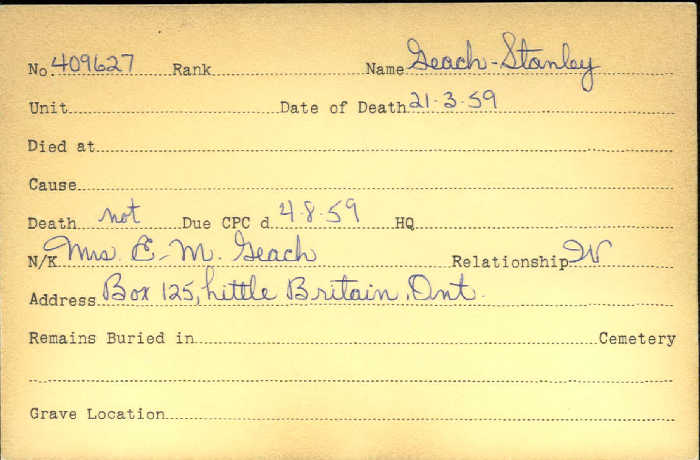Title: Veterans Death Cards: First World War - Mikan Number: 46114 - Microform: geach_stanley