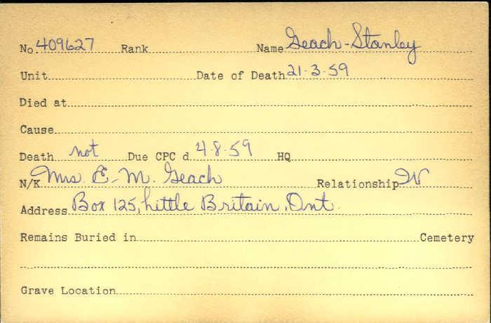 Titre: Cartes de décès des combattants : Première Guerre mondiale - N° d'enregistrement Mikan: 46114 - Microforme: geach_stanley