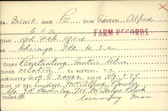Title: Veterans Death Cards: First World War - Mikan Number: 46114 - Microform: geach_stanley
