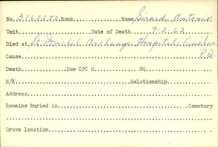 Title: Veterans Death Cards: First World War - Mikan Number: 46114 - Microform: girard_amedee
