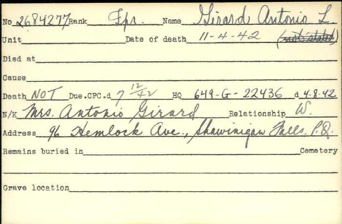 Title: Veterans Death Cards: First World War - Mikan Number: 46114 - Microform: girard_amedee