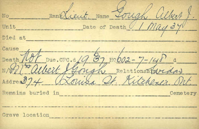 Title: Veterans Death Cards: First World War - Mikan Number: 46114 - Microform: gough_albert