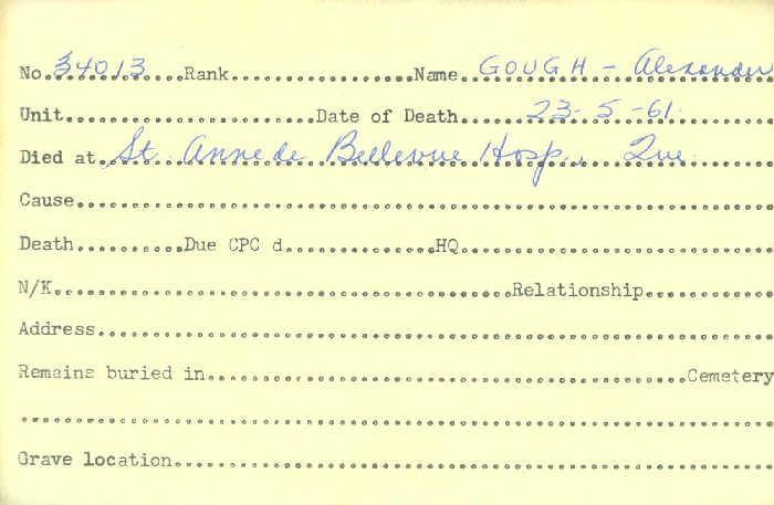 Title: Veterans Death Cards: First World War - Mikan Number: 46114 - Microform: gough_albert