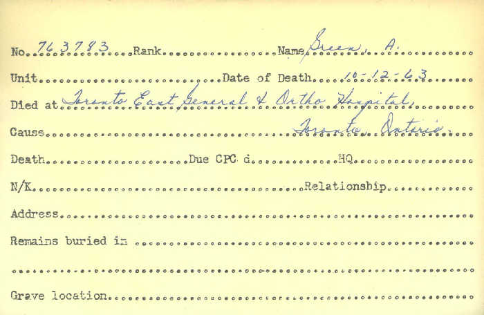 Title: Veterans Death Cards: First World War - Mikan Number: 46114 - Microform: green_a