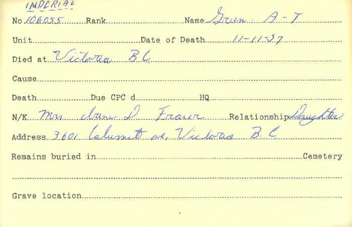 Titre: Cartes de décès des combattants : Première Guerre mondiale - N° d'enregistrement Mikan: 46114 - Microforme: green_a