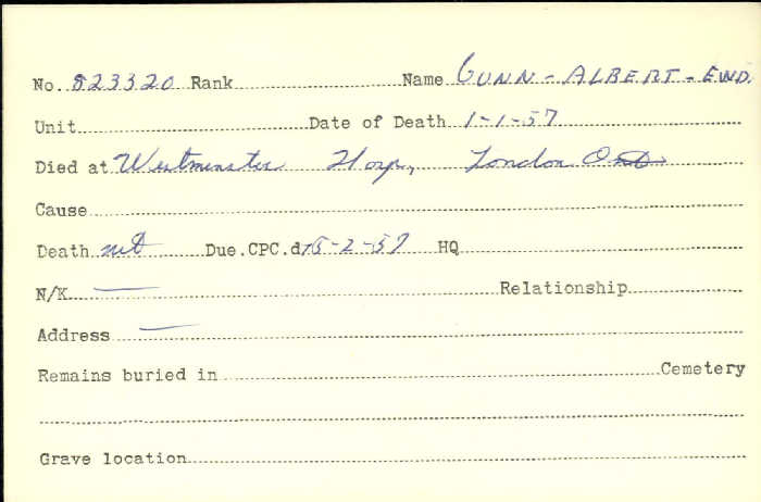 Titre: Cartes de décès des combattants : Première Guerre mondiale - N° d'enregistrement Mikan: 46114 - Microforme: gunn_a