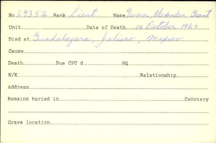 Title: Veterans Death Cards: First World War - Mikan Number: 46114 - Microform: gunn_a