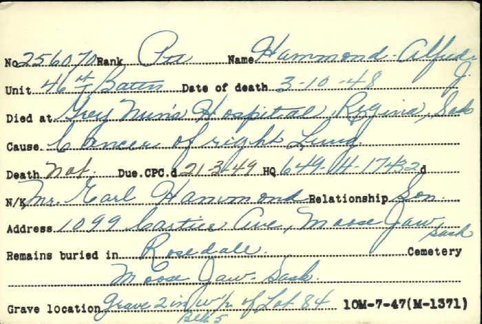 Title: Veterans Death Cards: First World War - Mikan Number: 46114 - Microform: hammond_a