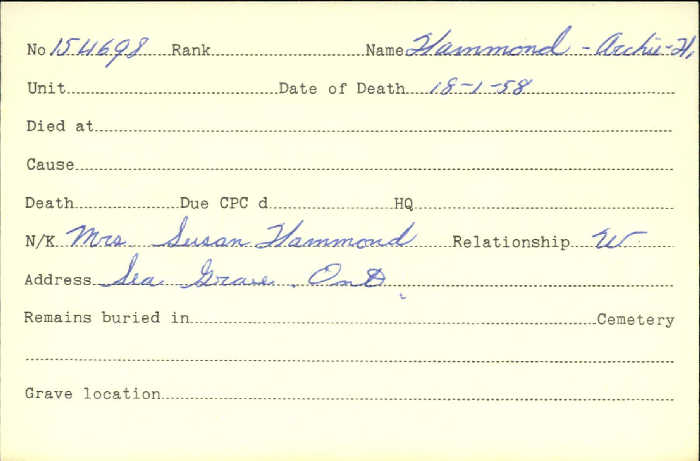 Title: Veterans Death Cards: First World War - Mikan Number: 46114 - Microform: hammond_a