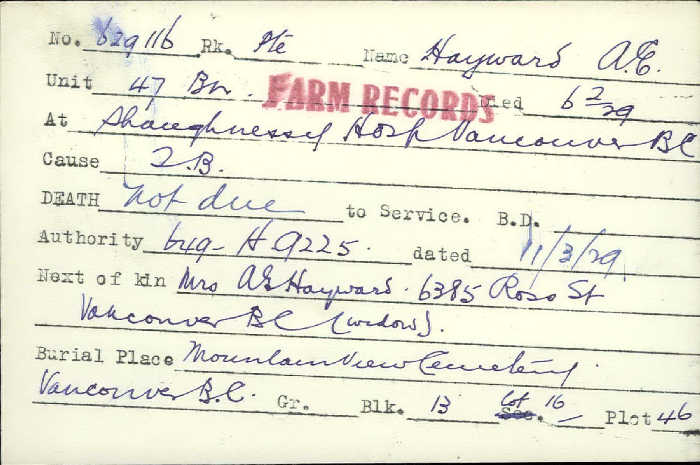 Title: Veterans Death Cards: First World War - Mikan Number: 46114 - Microform: hayward_a