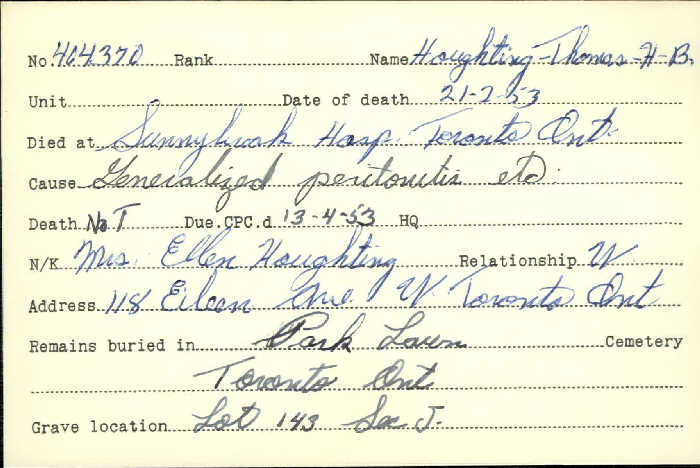 Title: Veterans Death Cards: First World War - Mikan Number: 46114 - Microform: hodgkinson_a