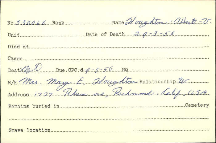 Title: Veterans Death Cards: First World War - Mikan Number: 46114 - Microform: houghton_a