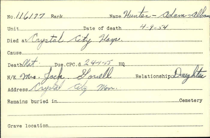 Title: Veterans Death Cards: First World War - Mikan Number: 46114 - Microform: hunter_a