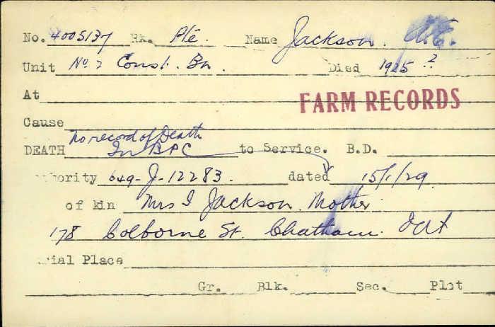 Titre: Cartes de décès des combattants : Première Guerre mondiale - N° d'enregistrement Mikan: 46114 - Microforme: jackson_a