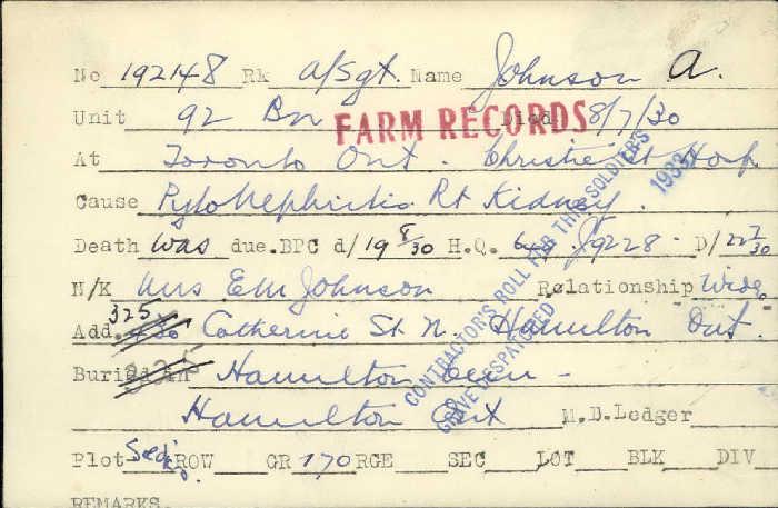 Titre: Cartes de décès des combattants : Première Guerre mondiale - N° d'enregistrement Mikan: 46114 - Microforme: johnson_a