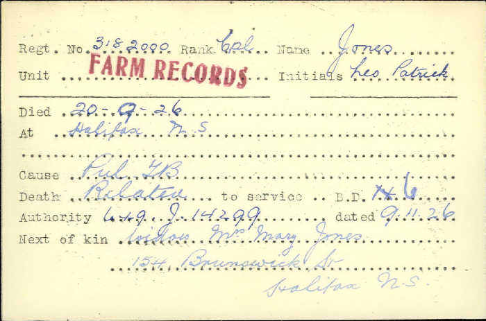 Title: Veterans Death Cards: First World War - Mikan Number: 46114 - Microform: johnson_a