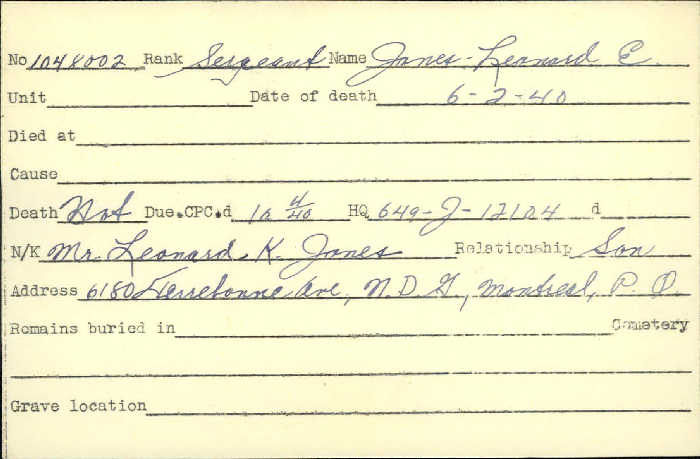 Title: Veterans Death Cards: First World War - Mikan Number: 46114 - Microform: jones_leonard