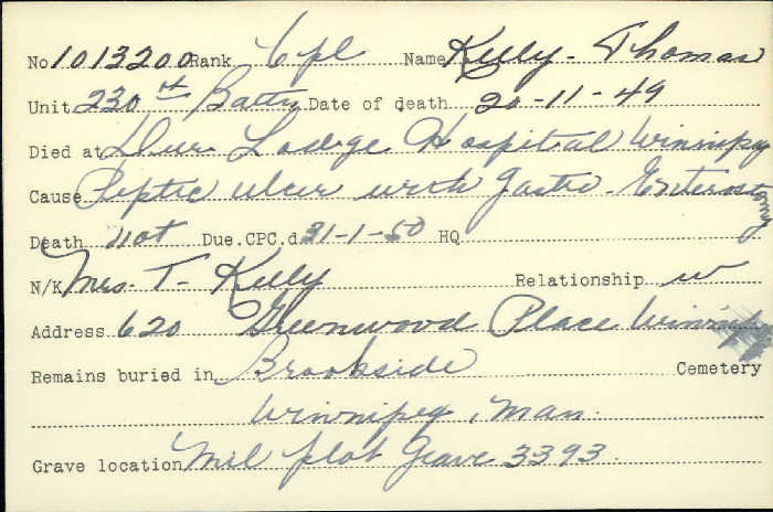 Title: Veterans Death Cards: First World War - Mikan Number: 46114 - Microform: kelly_thomas