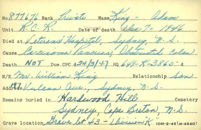 Title: Veterans Death Cards: First World War - Mikan Number: 46114 - Microform: king_a