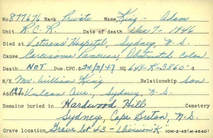 Titre: Cartes de décès des combattants : Première Guerre mondiale - N° d'enregistrement Mikan: 46114 - Microforme: king_a