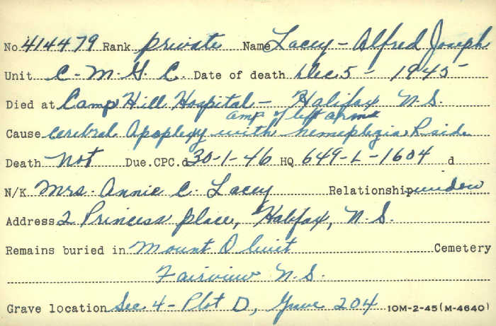 Title: Veterans Death Cards: First World War - Mikan Number: 46114 - Microform: lacey_a