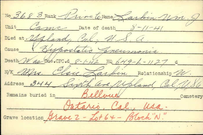 Title: Veterans Death Cards: First World War - Mikan Number: 46114 - Microform: larkin_william-j