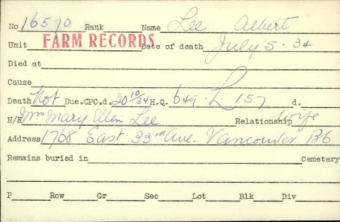 Title: Veterans Death Cards: First World War - Mikan Number: 46114 - Microform: lee_albert