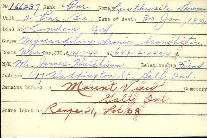 Title: Veterans Death Cards: First World War - Mikan Number: 46114 - Microform: lee_albert