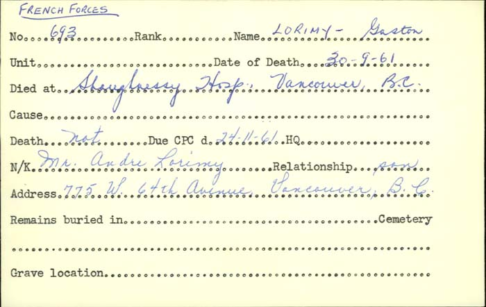 Title: Veterans Death Cards: First World War - Mikan Number: 46114 - Microform: ley_a