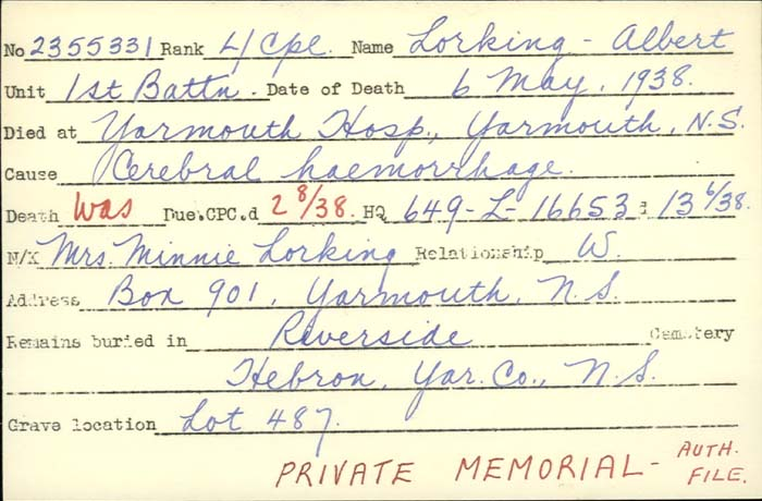 Title: Veterans Death Cards: First World War - Mikan Number: 46114 - Microform: loring_a