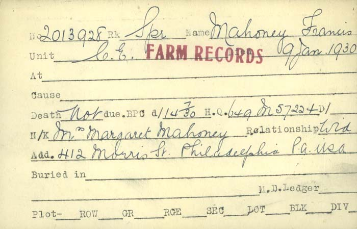 Title: Veterans Death Cards: First World War - Mikan Number: 46114 - Microform: mahoney_f