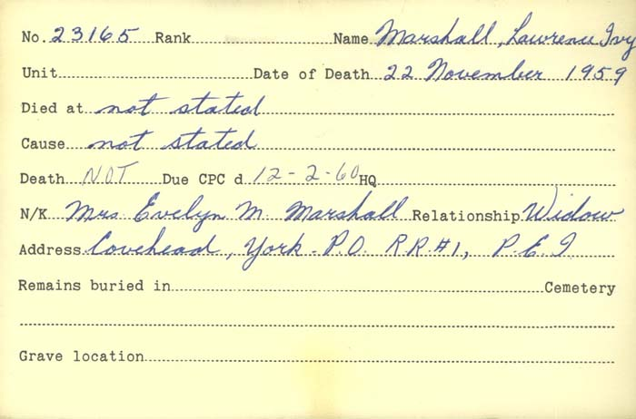 Title: Veterans Death Cards: First World War - Mikan Number: 46114 - Microform: marshall_l