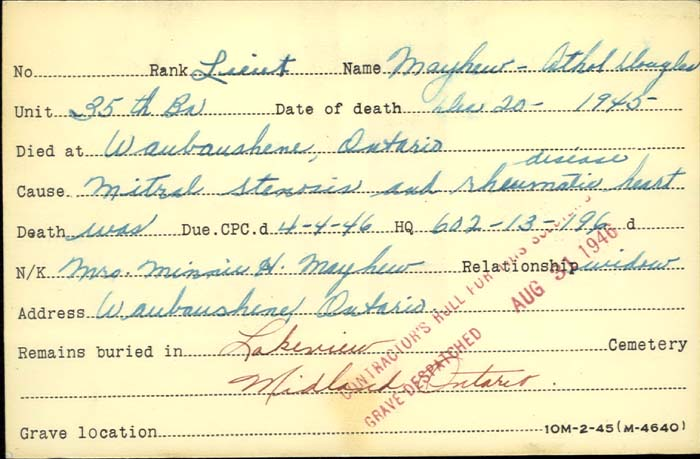 Title: Veterans Death Cards: First World War - Mikan Number: 46114 - Microform: mayhew_athol