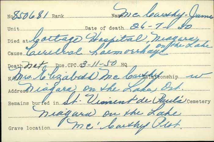 Title: Veterans Death Cards: First World War - Mikan Number: 46114 - Microform: mccarthy_j
