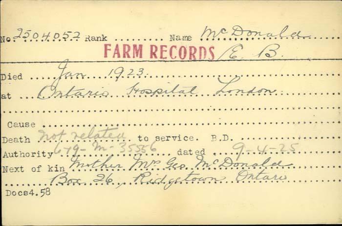 Title: Veterans Death Cards: First World War - Mikan Number: 46114 - Microform: mcdonald_e-b
