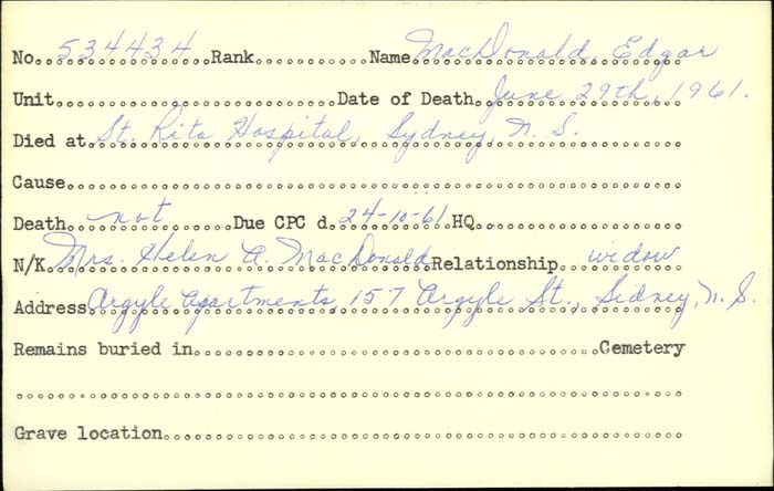 Title: Veterans Death Cards: First World War - Mikan Number: 46114 - Microform: mcdonald_e-b
