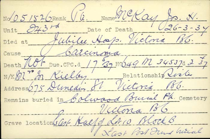 Title: Veterans Death Cards: First World War - Mikan Number: 46114 - Microform: mcgibney_r