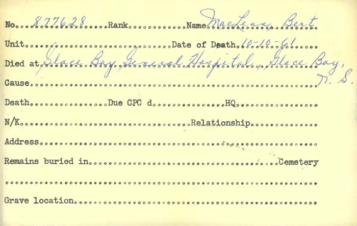 Title: Veterans Death Cards: First World War - Mikan Number: 46114 - Microform: mclean_b