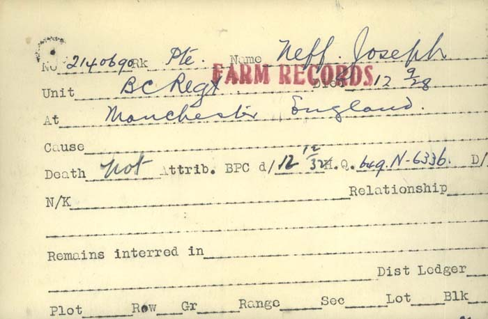 Title: Veterans Death Cards: First World War - Mikan Number: 46114 - Microform: mcnamee_m