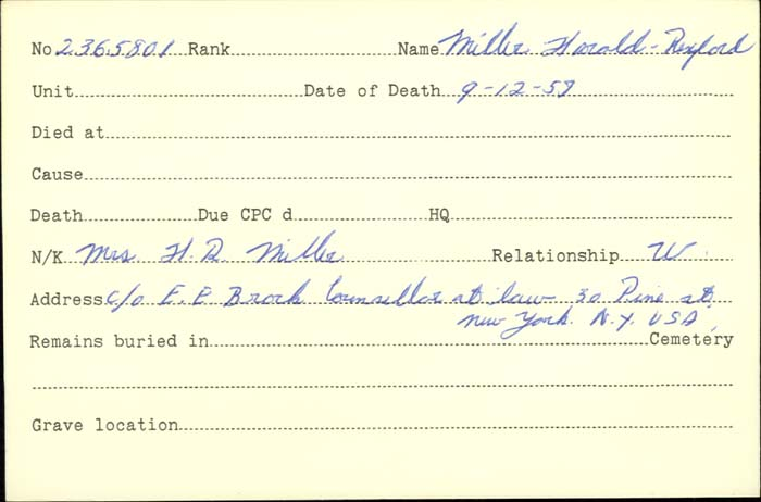 Title: Veterans Death Cards: First World War - Mikan Number: 46114 - Microform: miller_h