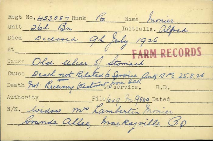 Title: Veterans Death Cards: First World War - Mikan Number: 46114 - Microform: monier_a
