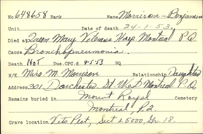 Title: Veterans Death Cards: First World War - Mikan Number: 46114 - Microform: morrison_b