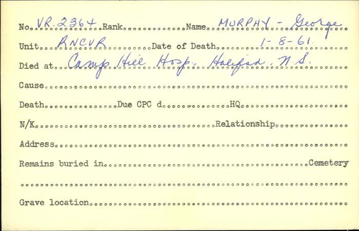 Title: Veterans Death Cards: First World War - Mikan Number: 46114 - Microform: murphy_g
