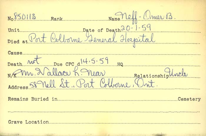 Title: Veterans Death Cards: First World War - Mikan Number: 46114 - Microform: neff_omer
