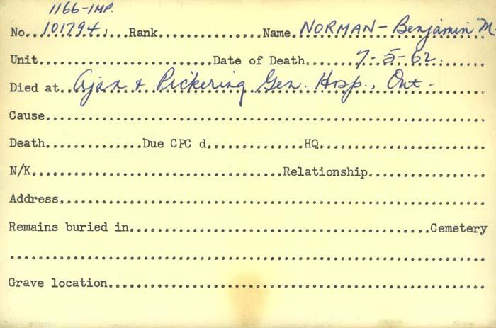 Title: Veterans Death Cards: First World War - Mikan Number: 46114 - Microform: norman_benjamin