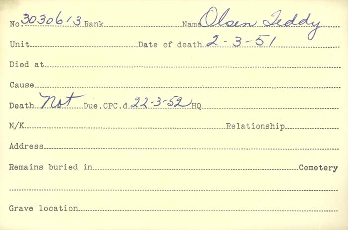 Title: Veterans Death Cards: First World War - Mikan Number: 46114 - Microform: olsen_b
