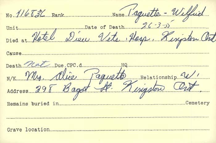 Title: Veterans Death Cards: First World War - Mikan Number: 46114 - Microform: olsen_b
