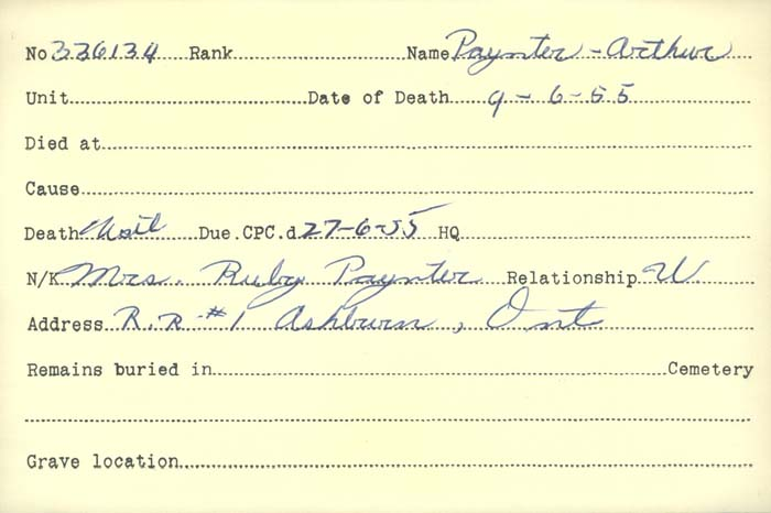 Title: Veterans Death Cards: First World War - Mikan Number: 46114 - Microform: paquin_a