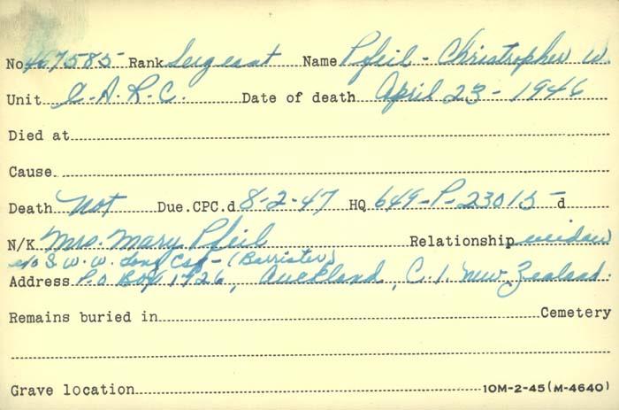 Title: Veterans Death Cards: First World War - Mikan Number: 46114 - Microform: paynter_j