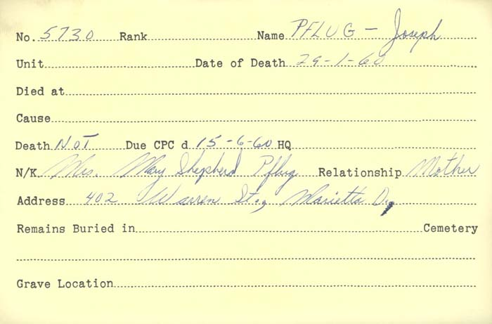 Title: Veterans Death Cards: First World War - Mikan Number: 46114 - Microform: paynter_j